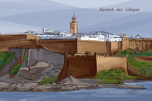 Kasbah des Udayas (Oudayas Kasbah) in Rabat Morocco. This is an illustration of this fortified part of the city.