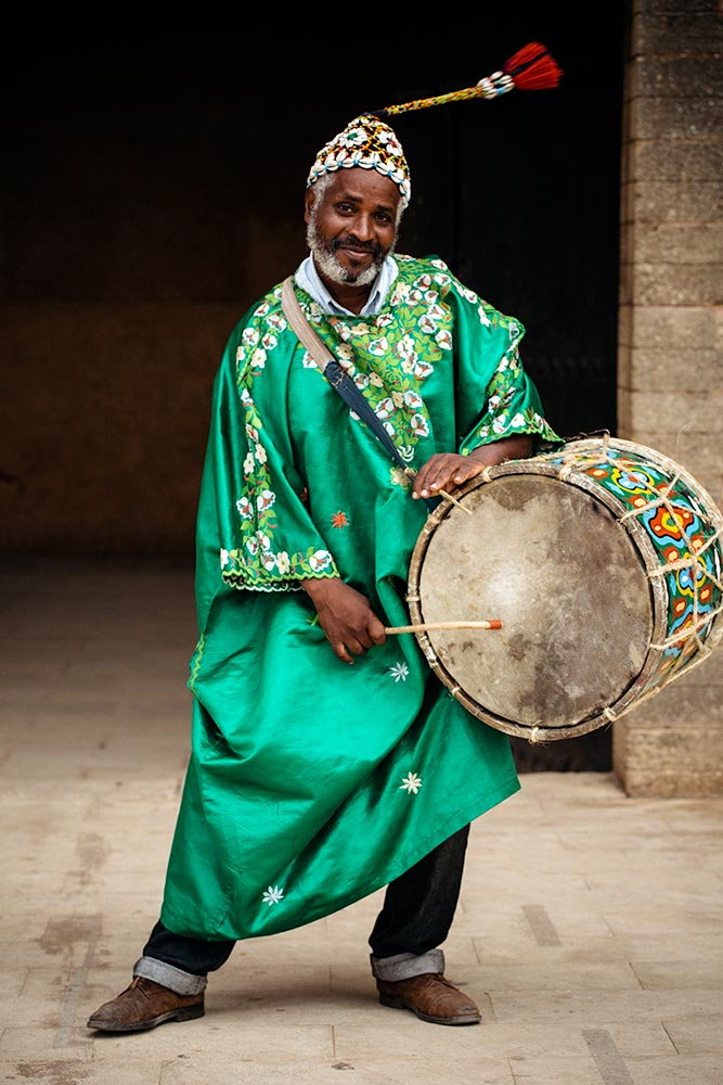 Traditional Gnawa Drummer Preforming in Rabat